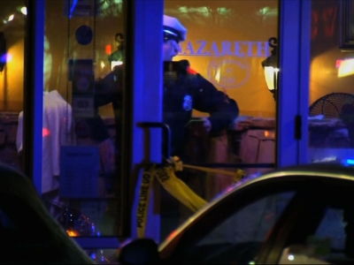 Columbus, Ohio police say officers shot and killed a man who had attacked a restaurant with a machete. Four people were injured in the attack at Nazareth Mediterannean Restaurant and Deli on Thursday night. (Feb. 12)