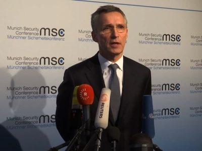 """NATO Secretary-General Jens Stoltenberg says he would welcome a more constructive Russian role in fighting Islamic State militants in Syria. Stoltenberg says intense Russian airstrikes had so far """"undermined the efforts"""" in Syria. (Feb. 12)"""
