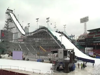 Fenway Park, home of the Boston Red Sox, has been transformed into a giant ski jump. (Feb. 12)