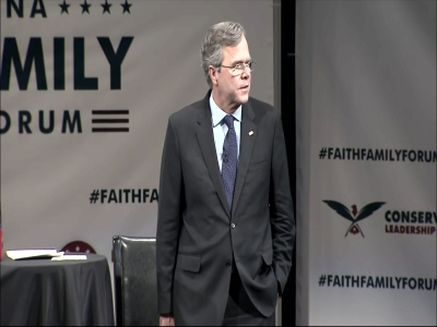 Jeb Bush touted his conservative credentials, while also taking shots at President Barack Obama and Republican frontrunner Donald Trump at the Faith and Family Presidential Forum in Greenville, S.C. on Friday. (Feb. 12)