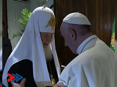 Pope meets with Russian Orthodox leader in Cuba