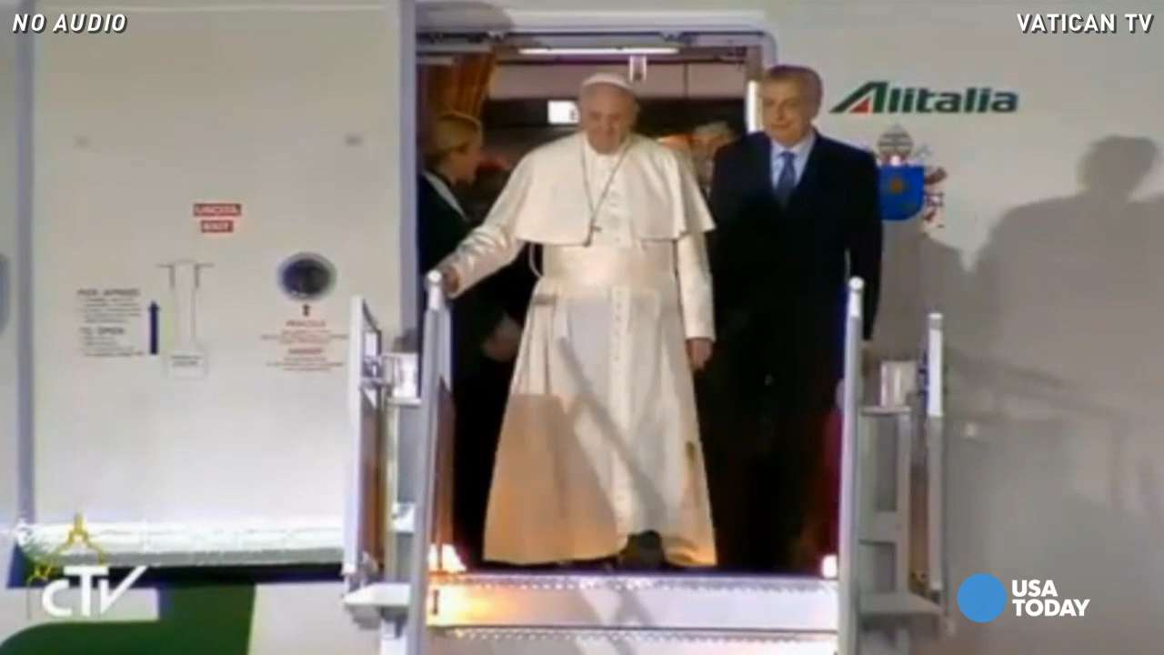 Large, cheering crowds welcomed Pope Francis to Mexico City.