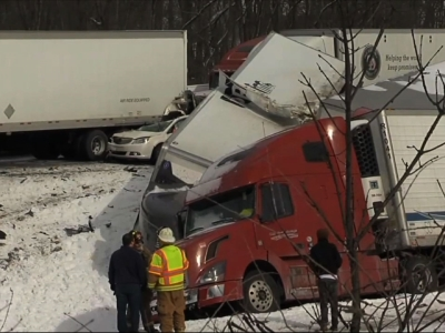 A pileup involving dozens of vehicles on a Pennsylvania interstate that killed three people and sent scores to hospitals appears to have been related to a passing snow squall, authorities said Saturday. (Feb. 13)