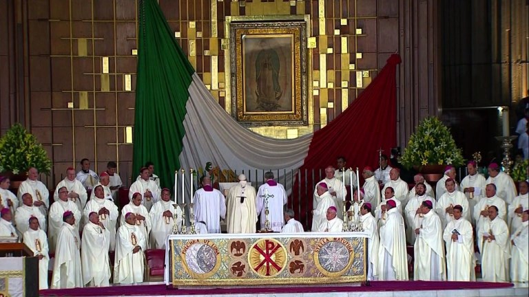 Pope Francis gives his first Mass in Mexico at the Basilica of Guadalupe. Video provided by AFP