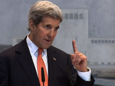 During a brief stop in Albania, US Secretary of State John Kerry thanked the Balkan nation for its contributions to the fight against the Islamic State group, saying the majority Muslim country was a leader in countering violent extremism. (Feb. 14)