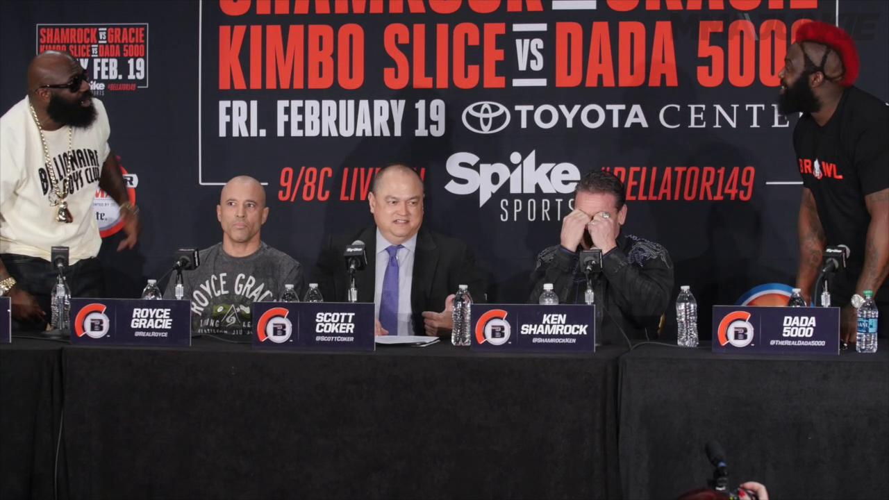 Bellator heavyweights Kimbo Slice and Dada 5000 throw verbal blows ahead of their fight in Houston