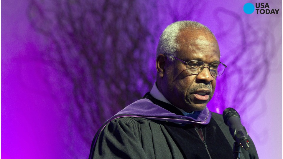Clarence Thomas breaks courtroom silence