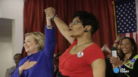 Hillary Clinton holds hands with Geneva Reed-Veal, the mother of Sandra Bland, in Chicago on Feb. 17, 2016.