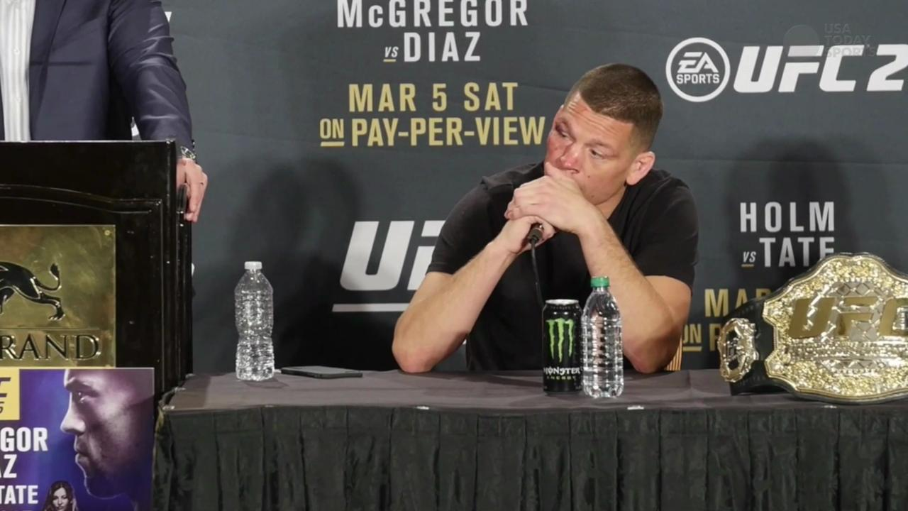 Nate Diaz speaks to the media following his win over Conor McGregor in their welterweight fight.