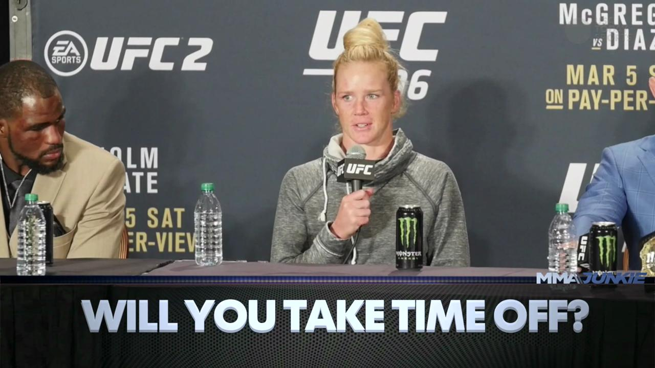 Holly Holm speaks to the media following her loss to Miesha Tate in the UFC 196 bantamweight championship fight.