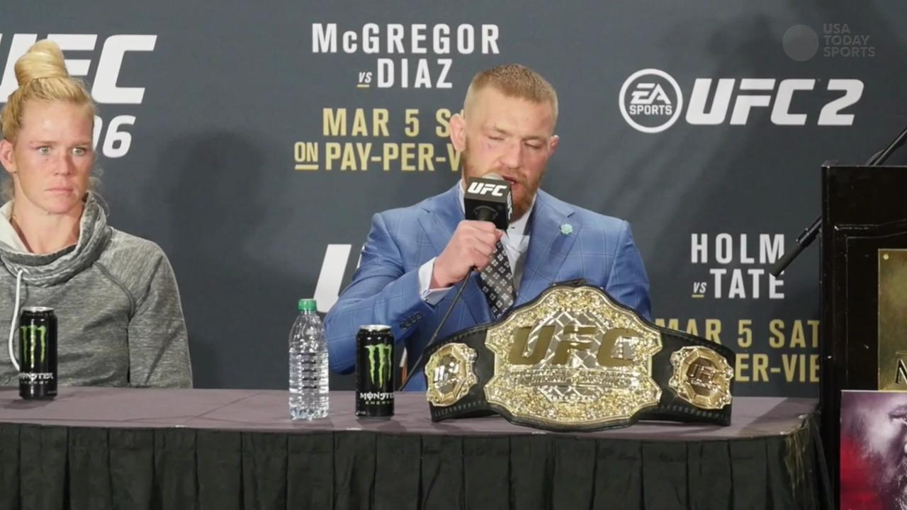 Conor McGregor speaks to the media following his welterweight loss to Nate Diaz in UFC 196.
