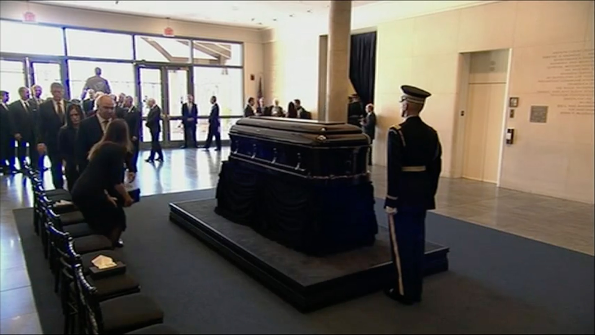 Nancy Reagan's casket arrives at Reagan Library