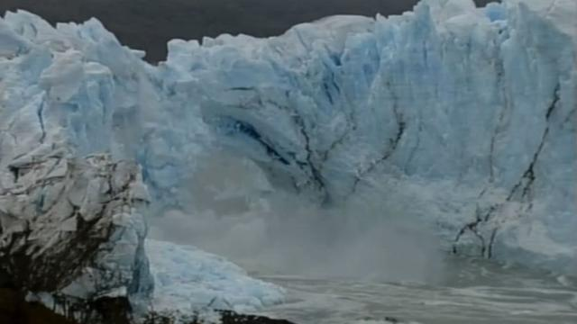 A fragile arch of ice at the tip of a glacier in southern Argentina spectacularly collapsed into the water Thursday, a natural display that happens just once every several years.Video provided by AFP