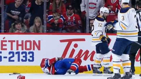 Montreal Canadiens defenseman P.K. Subban was taken off the ice on a stretcher after colliding head-first with a teammate.