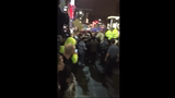 Raw: Police Spray Crowds Outside Trump Rally