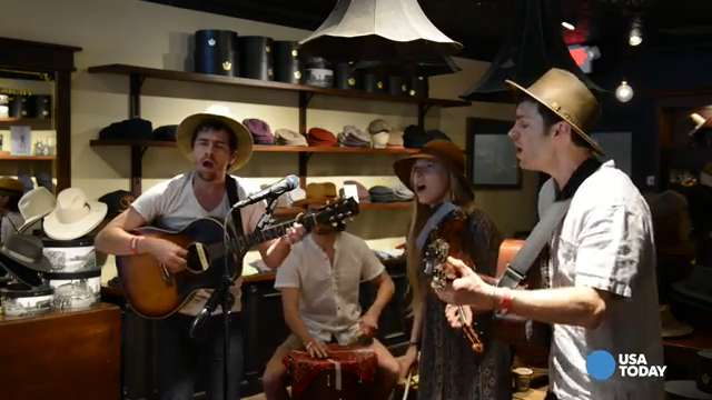 Dad Rock: River Whyless plays in a hat shop during SXSW