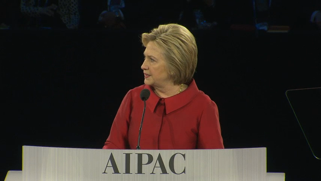 Democratic presidential candidate Hillary Clinton speaks during the 2016 AIPAC Policy Conference in Washington, DC, March 21, 2016.