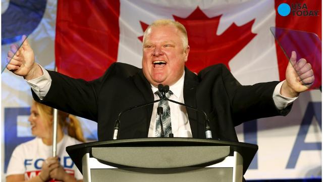 Toronto Mayor Rob Ford speaks during the kickoff of his re-election campaign at a rally in the city's north end on April 17, 2014.