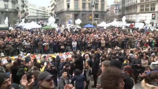 Raw: Hundreds Honor Brussels Attack Victims