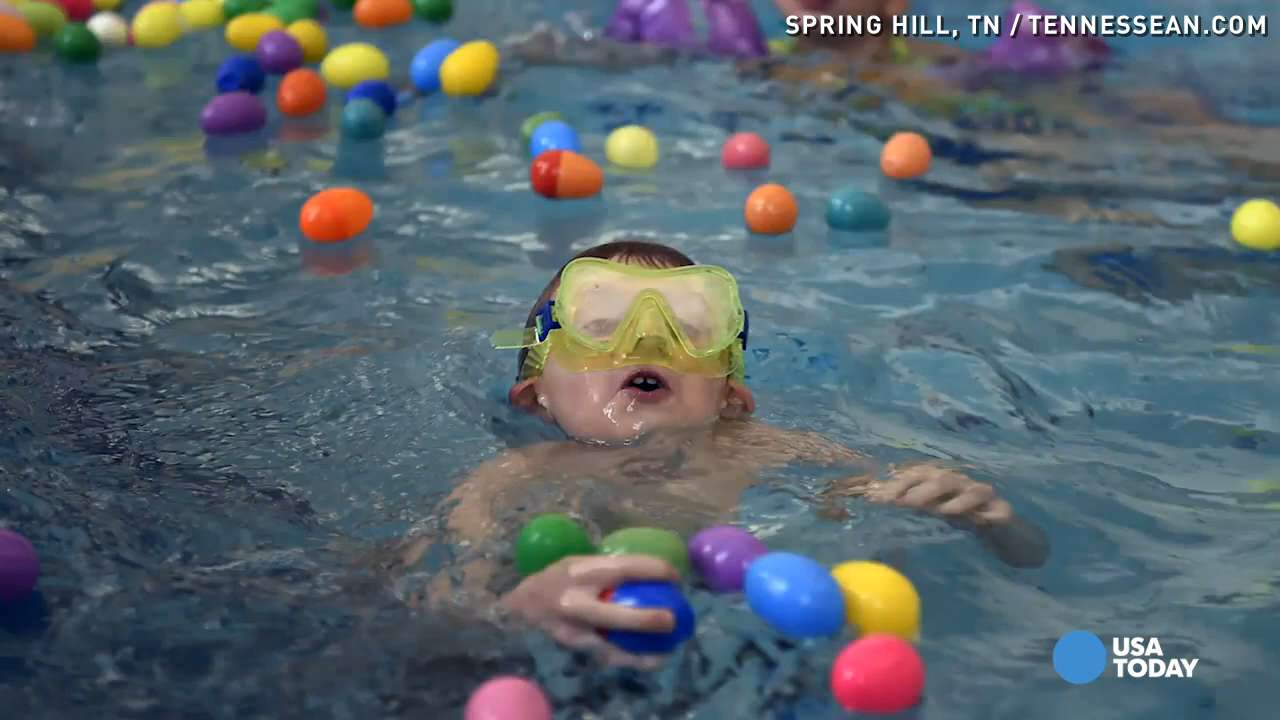 A Tennessee recreation center added a cute twist to the usual Easter egg hunt by having families dive for their eggs.