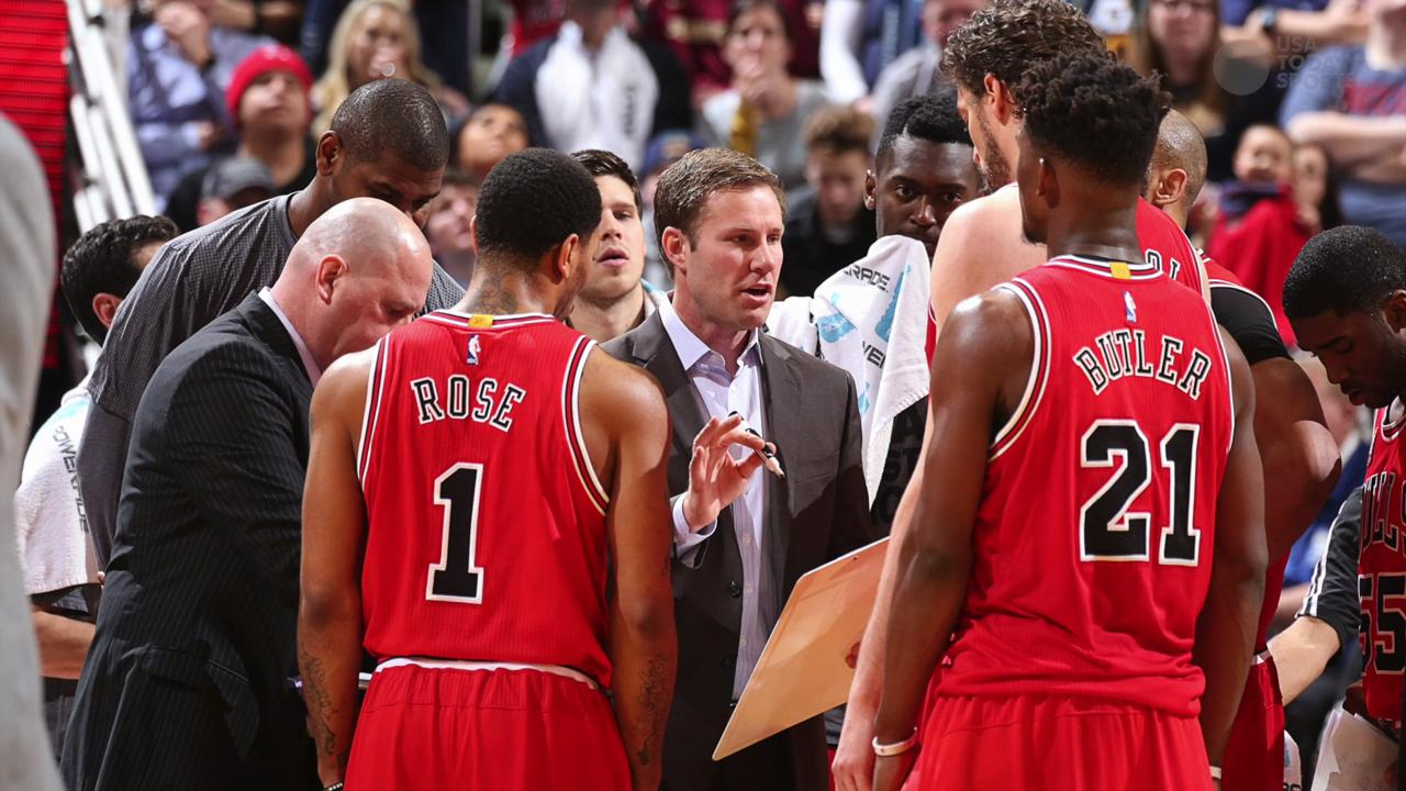 Chicago Bulls forward Taj Gibson argues with an official during the second half of an NBA basketball game against the Orlando Magic.