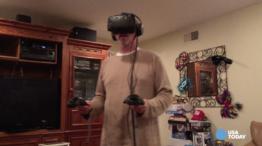 Ed Baig tries out the new HTC Vive, another player in the world of virtual reality gaming.