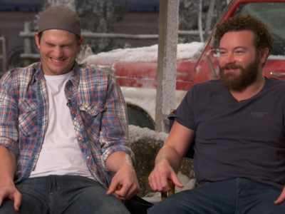 Ashton Kutcher and Danny Masterson talk about having to punch each other in the groin in their Netflix sitcom, 'The Ranch.' (April 6)