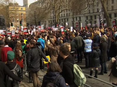 Raw: UK Protesters Call on PM Cameron to Resign