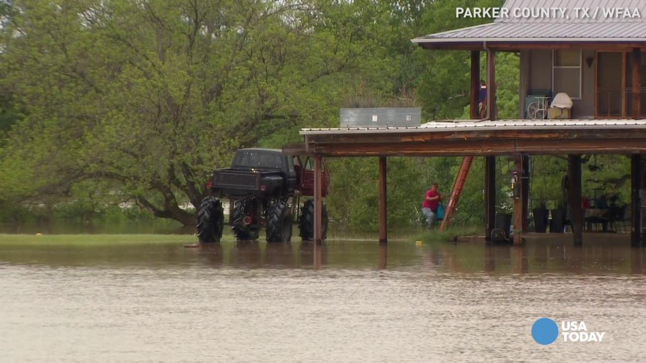 Monster truck pulls off 'redneck rescue' in floodwaters