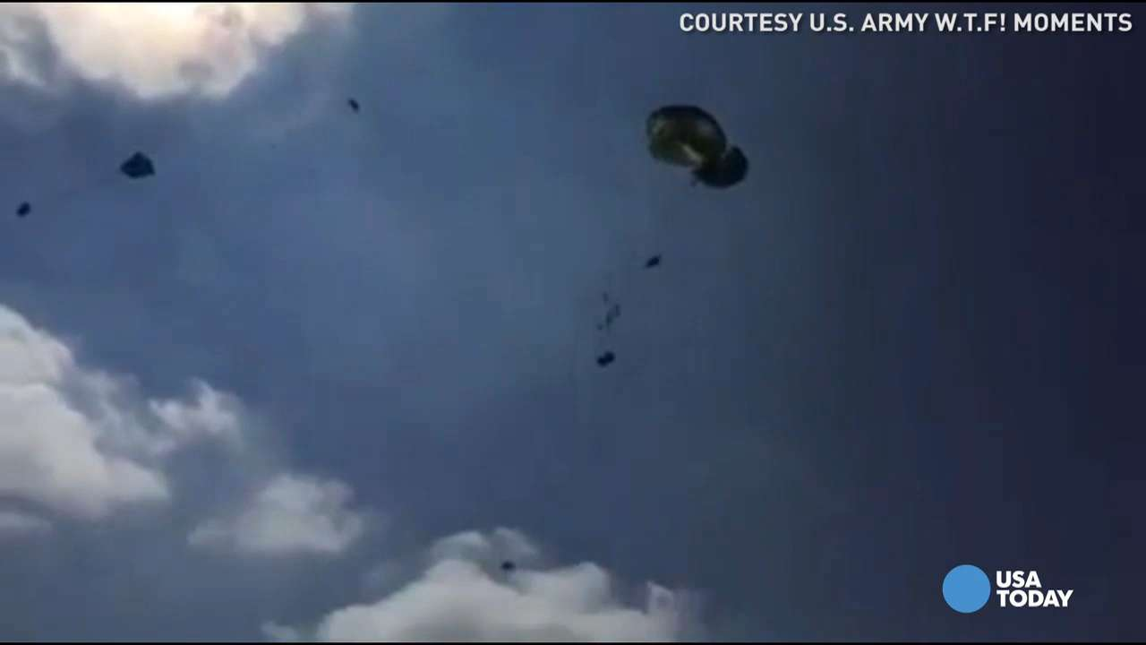 Army Humvee's plummet to earth during parachute mishap