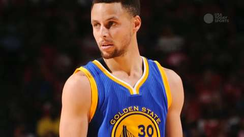 The reigning MVP injured his knee, but Golden State managed to beat Houston.