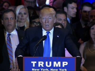 Republican presidential candidate Donald Trump speaks during a primary night news conference on Tuesday in New York.