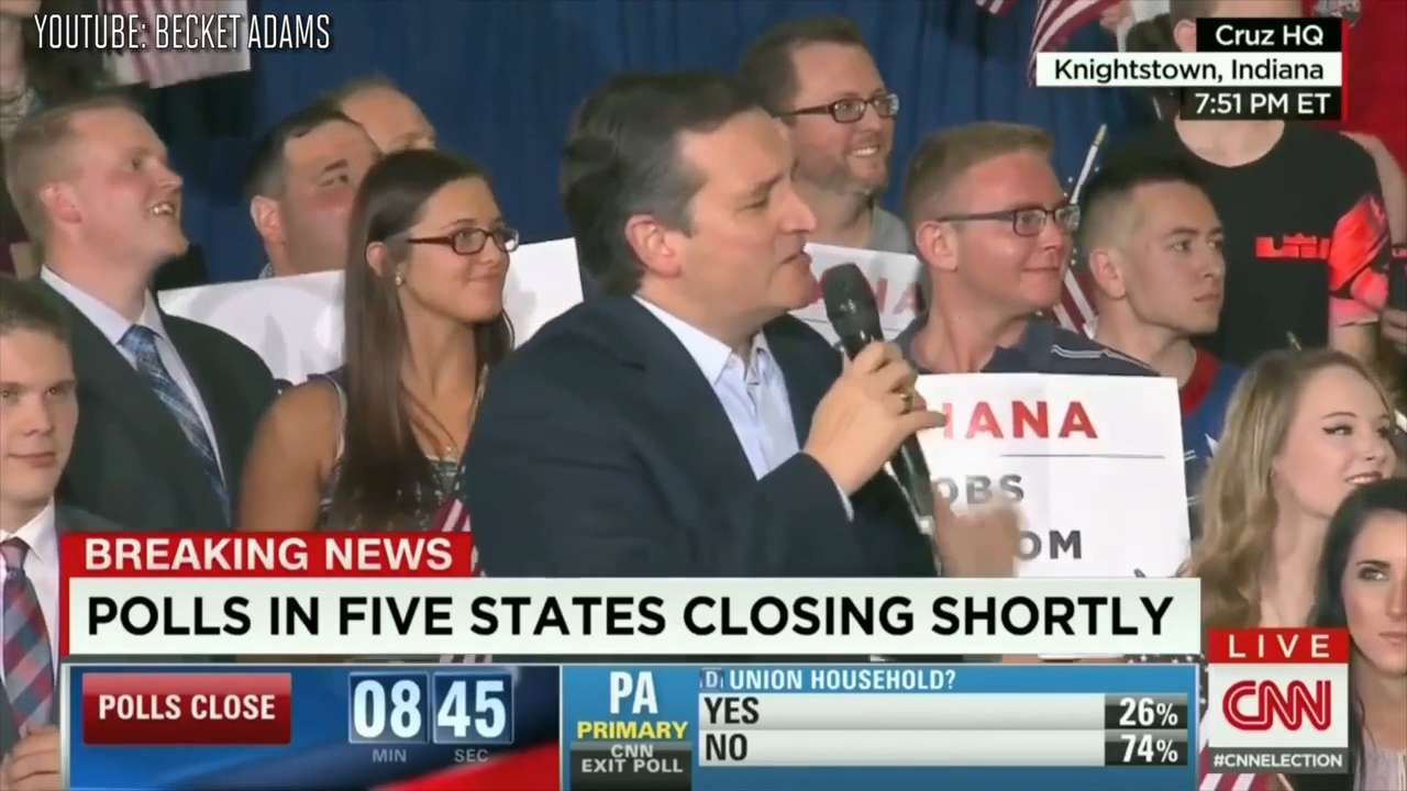 Ted Cruz says 'basketball ring' during rally at the gym from 'Hoosiers'