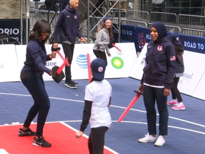 Raw: Michelle Obama Practices With US Olympians