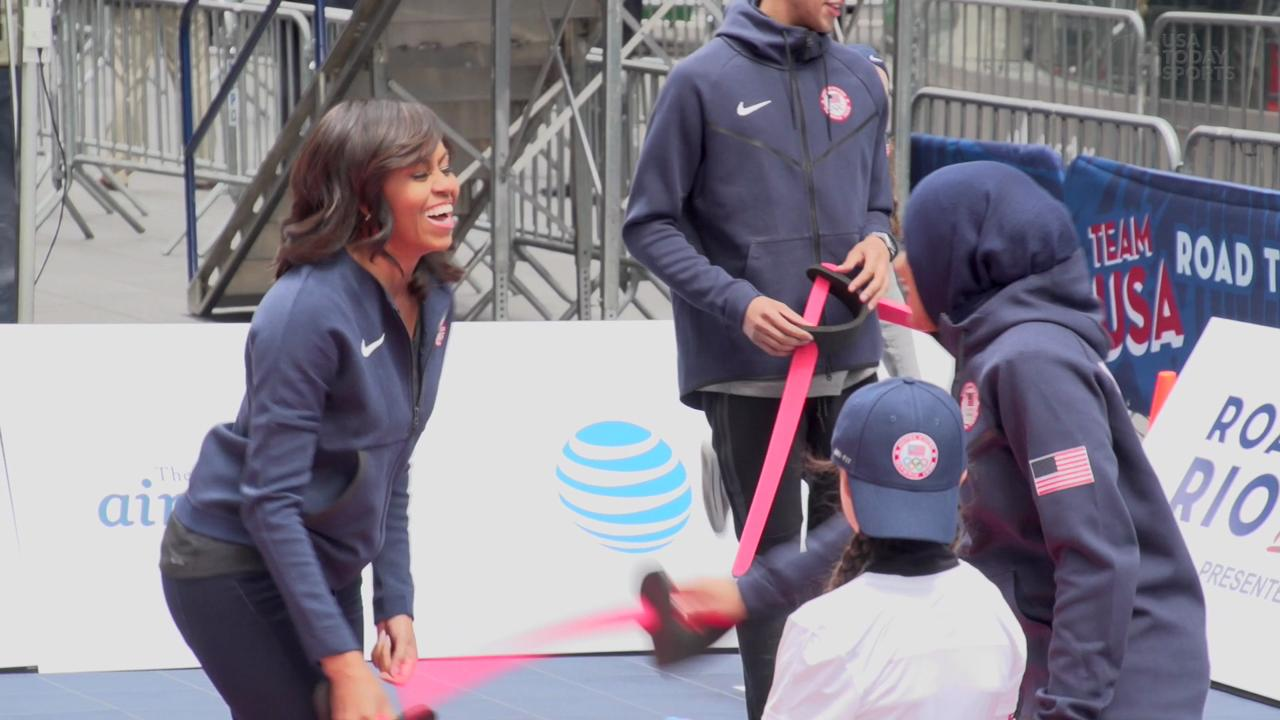 The First Lady joined members of the USOC in Times Square for the announcement.
