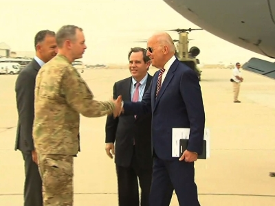 Raw: Biden makes surprise visit to Iraq