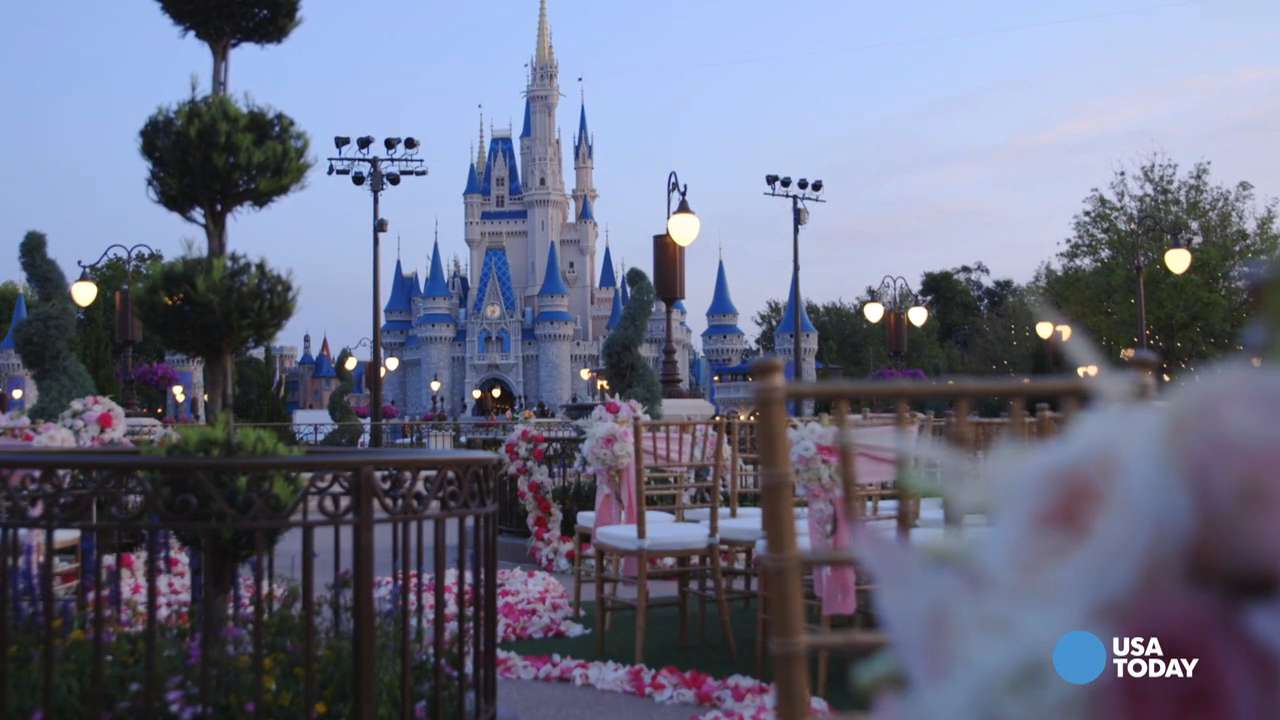 Brides will feel like princesses getting married outside Cinderella's Castle at Walt Disney World's Magic Kingdom. They can even arrive in Cinderella's carriage.