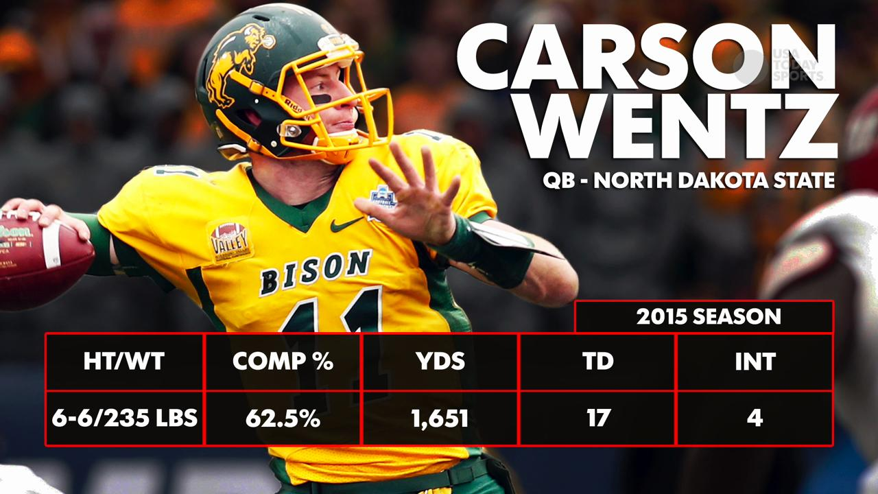 With the second overall pick in the 2016 NFL draft, the Philadelphia Eagles selected Carson Wentz, the quarterback from North Dakota State.