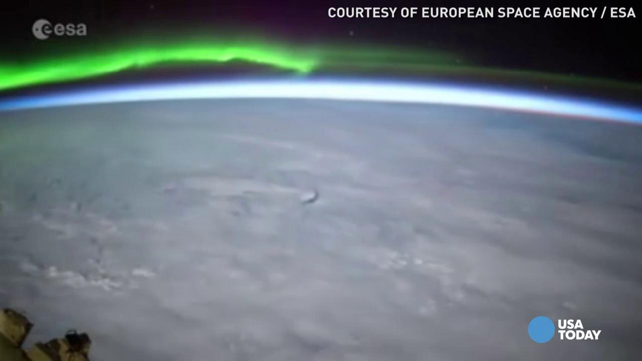 Aurora skimming the sunrise caught on time-lapsed video