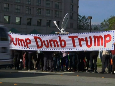 Protesters rallied against Donald Trump outside of the California state GOP Convention in Burlingame on Friday. (April 29)