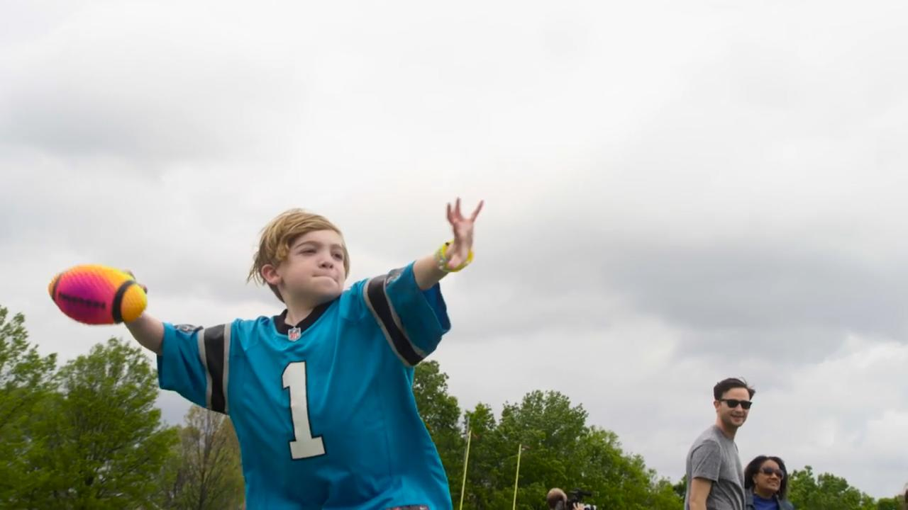 In a touching video, a young Panthers fan gets to meet his idol Cam Newton through the Make-A-Wish Foundation.