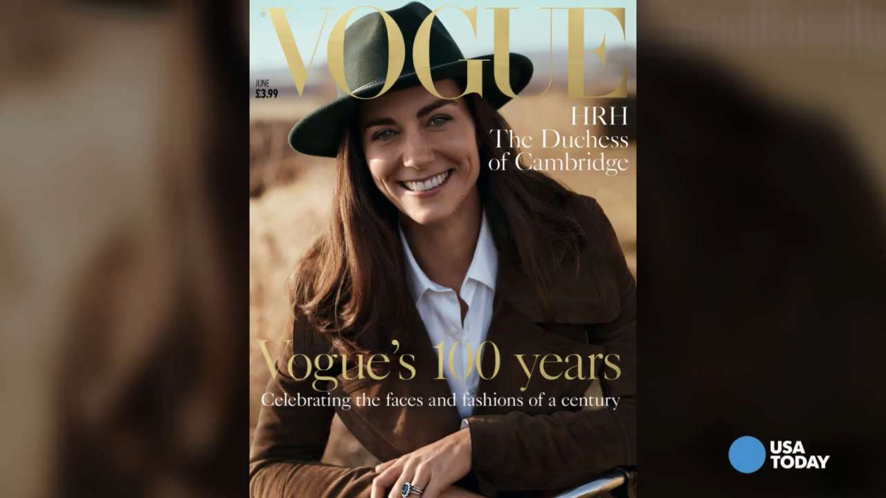 The Duchess of Cambridge appears on the cover of the 100th anniversary issue of British 'Vogue' and in the magazine's special exhibit at the National Portrait Gallery in London.
