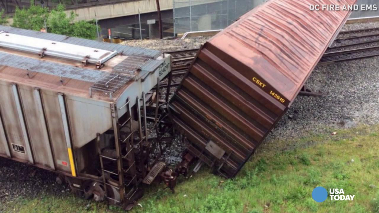 A CSX train car was leaking sodium hydroxide after derailing in Washington. The chemical is used in household products like soaps and detergents.