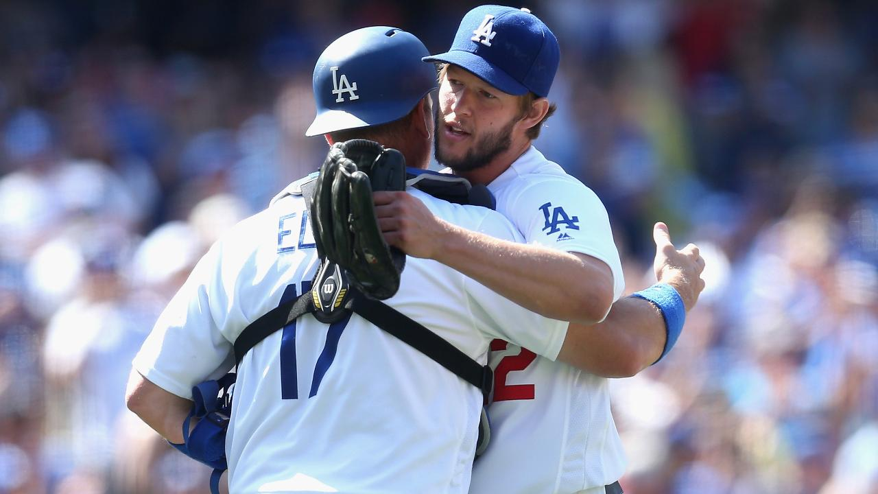 The Dodgers celebrated a win over the Padres on Sunday by hitting the running man, and showering in popcorn.