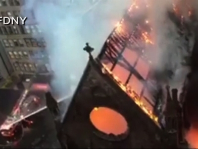 Fire ravages historic New York City church