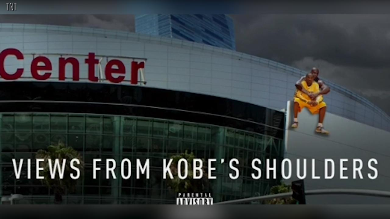 The NBA on TNT crew made a special 'views' album cover for Shaq, causing the former Laker to playfully storm off the set.