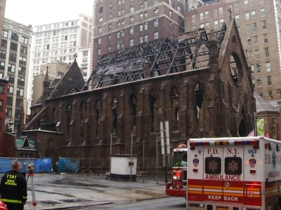 Raging fire destroys historic NYC church