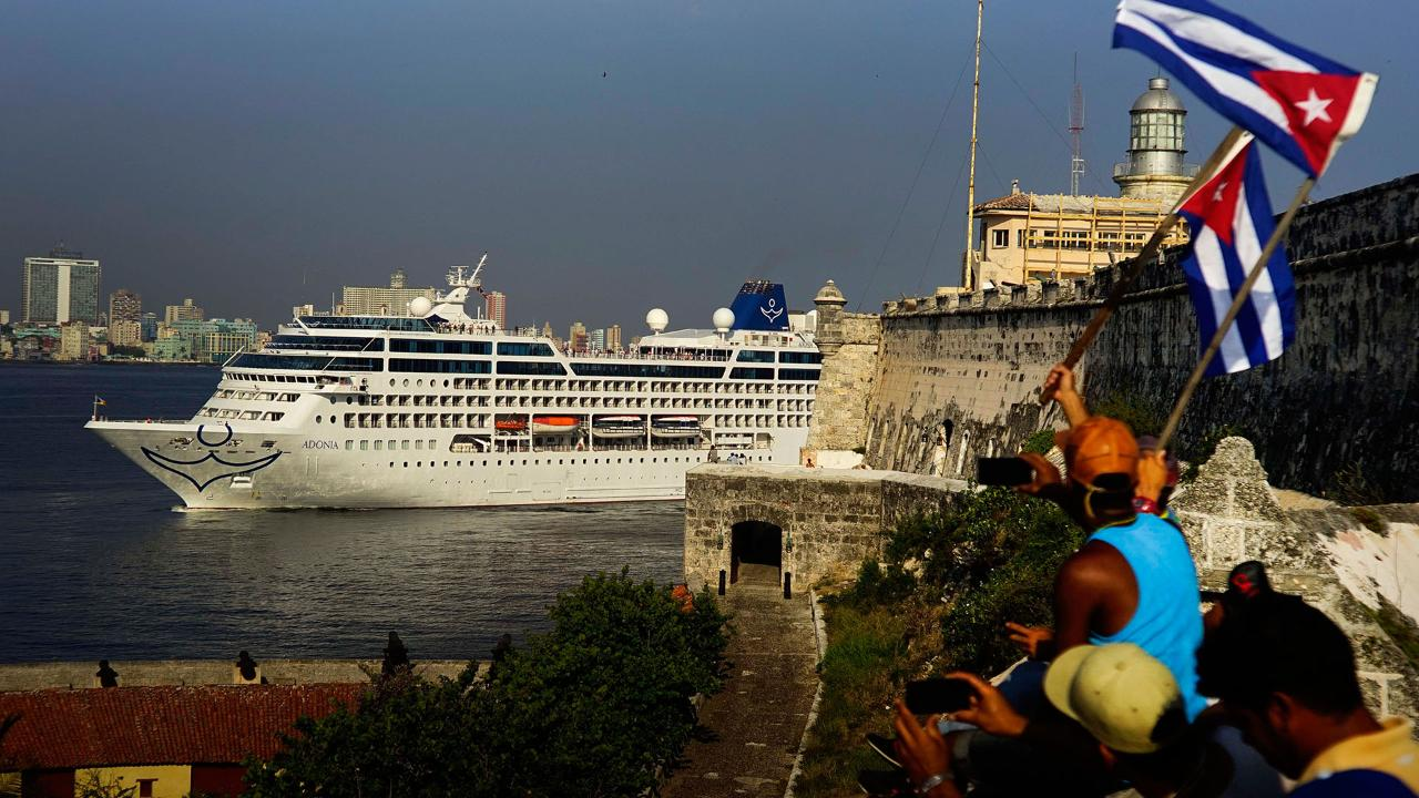 The first U.S. cruise ship in nearly 40 years crossed the Florida Straits from Miami and docked in Havana on Monday, restarting commercial travel on waters that served as a stage for a half-century of Cold War hostility.