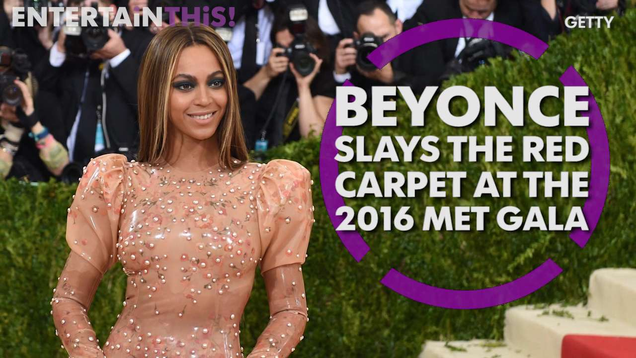 Beyonce steals the show at the 2016 Met Gala in her latex Givenchy dress.