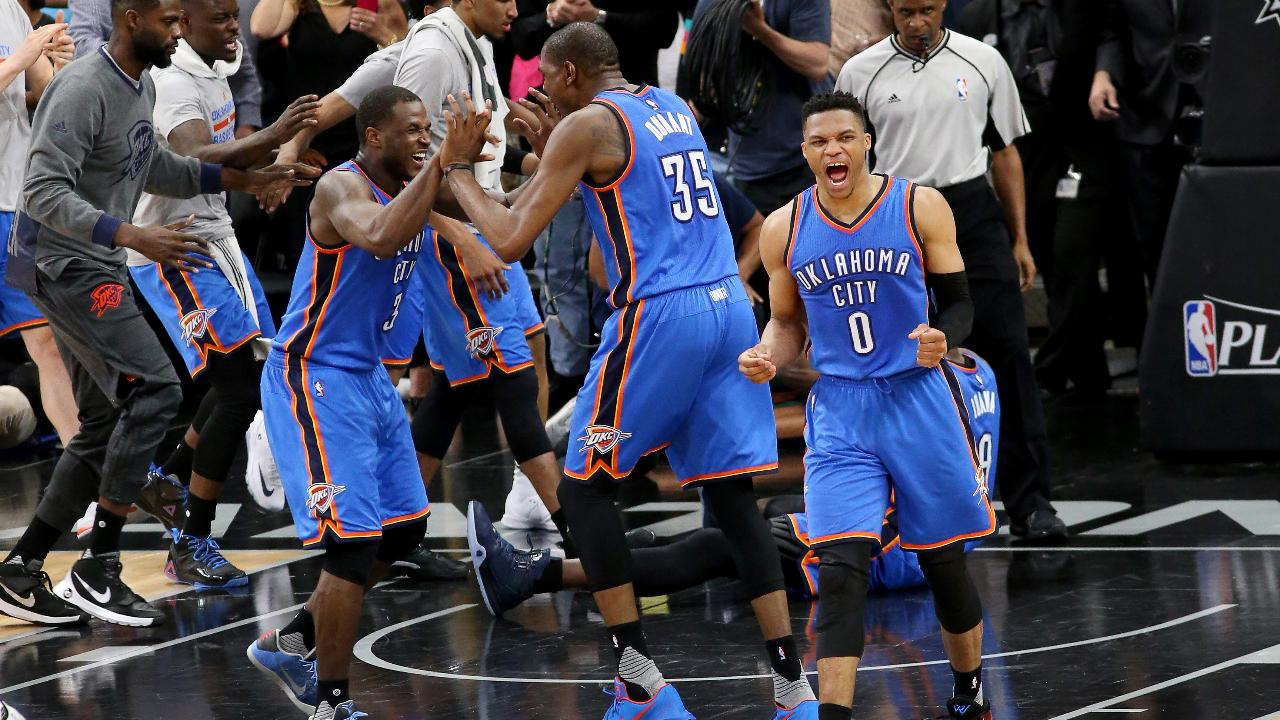 There was plenty of late-game drama in San Antonio, but  the Thunder held on to beat the Spurs 98-97 in Game 2 of the Western Conference semifinals.